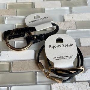 NWT Set of Black Gold Vegan Wrap Bracelets